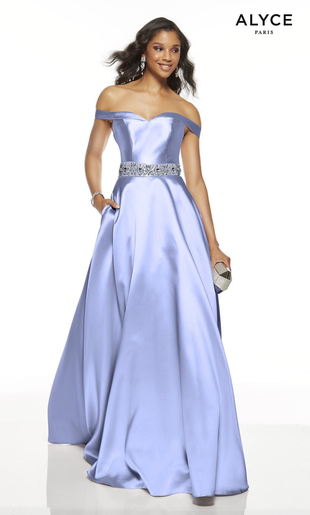 Alyce purple ball gown prom dress