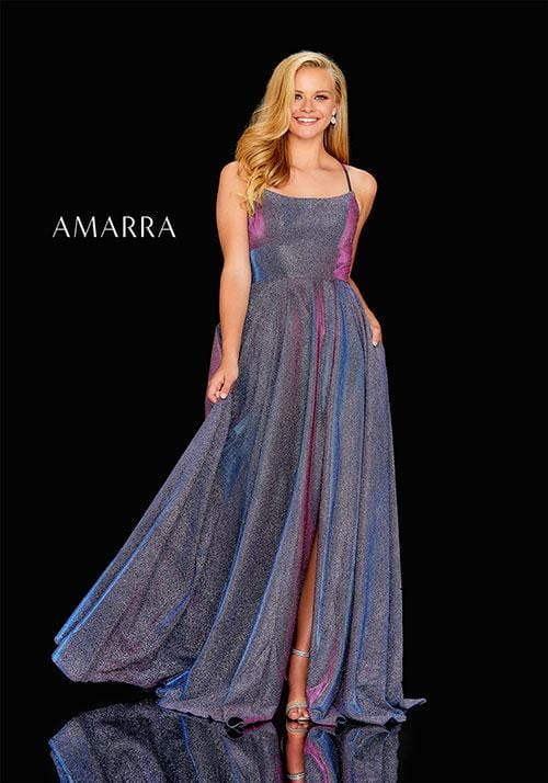 Shimmer gown with a scoop neckline, high slit skirt with snap, and lace up back.