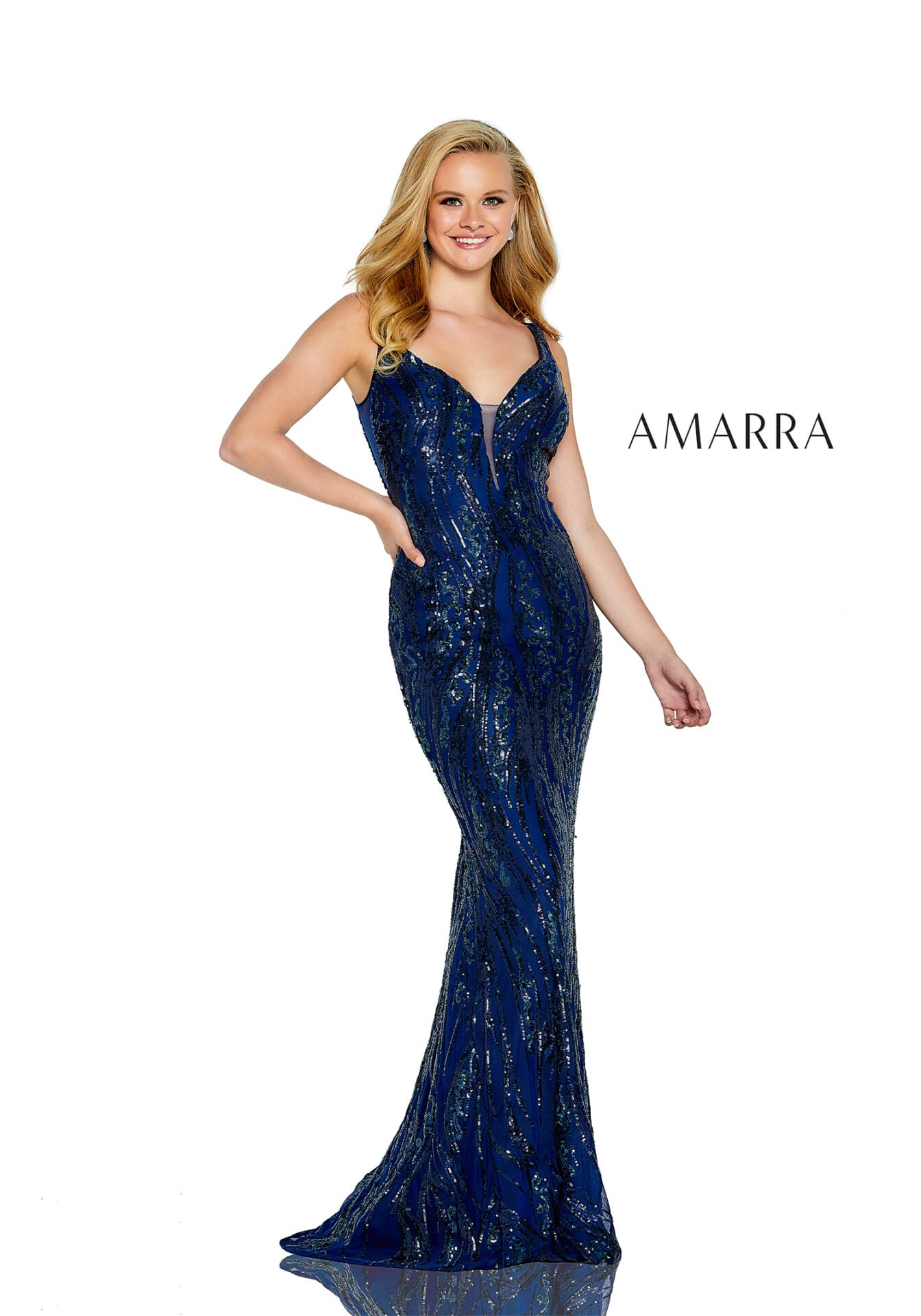 Fitted sequin gown with a plunging neckline with mesh insert and a strappy lace back.