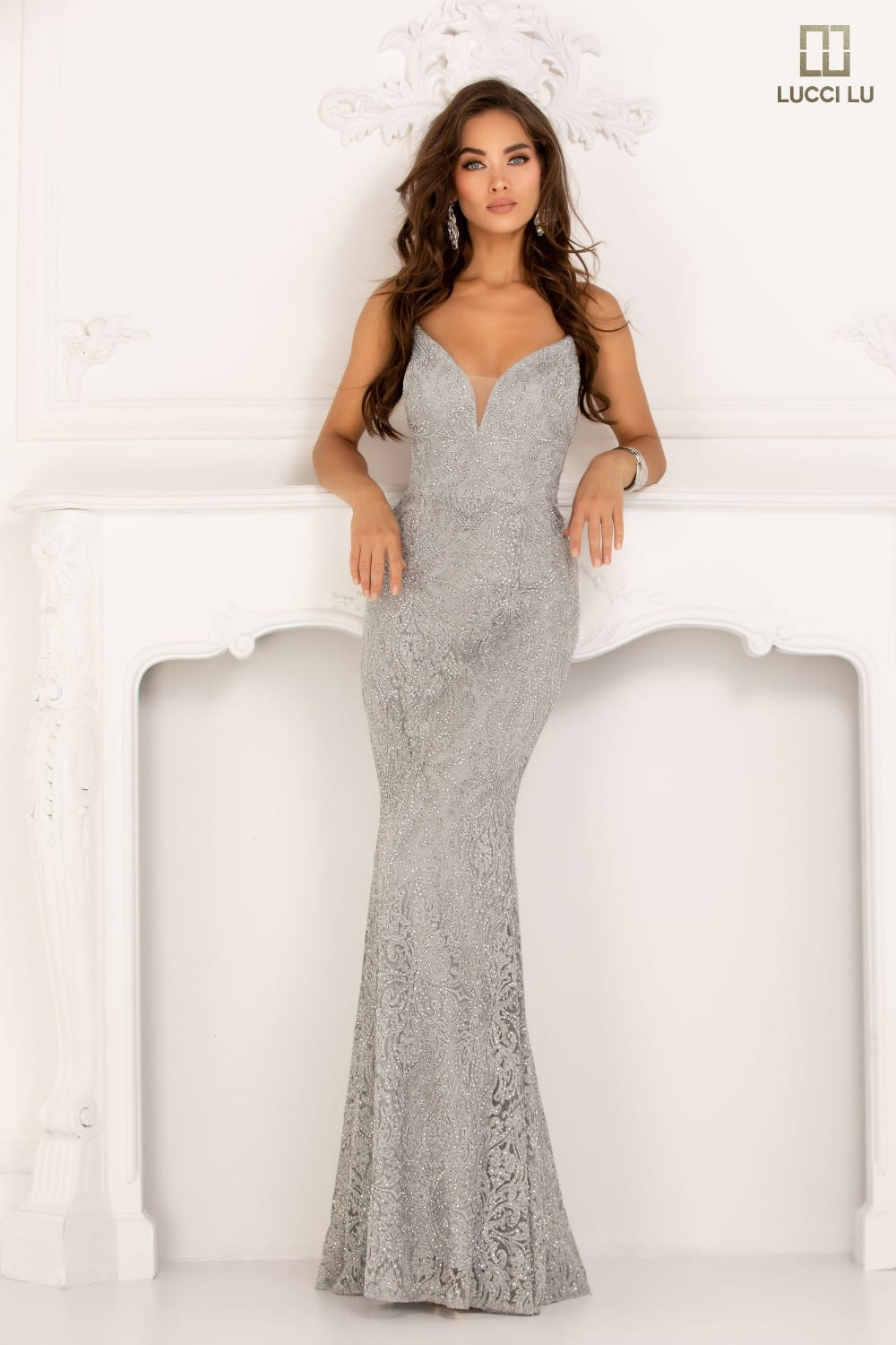 Formal Wear, long, embroidery tulle, v-neck, straight, open lace-up back, beaded Accents