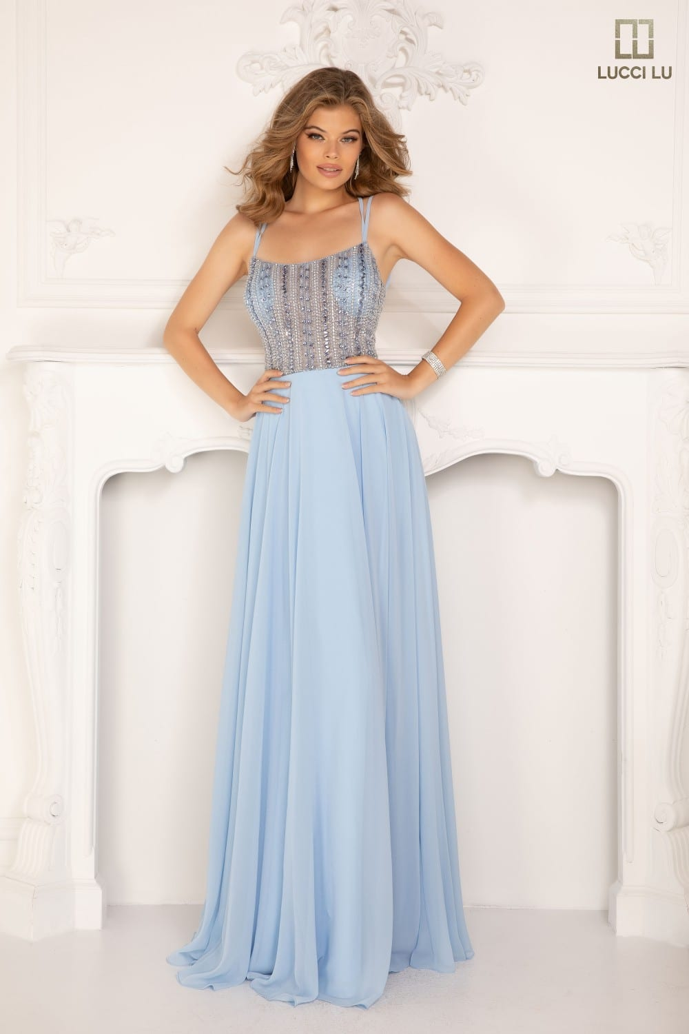 Scoop neck, sheer jeweled bodice, tulle skirt, lace up back, double spaghetti straps