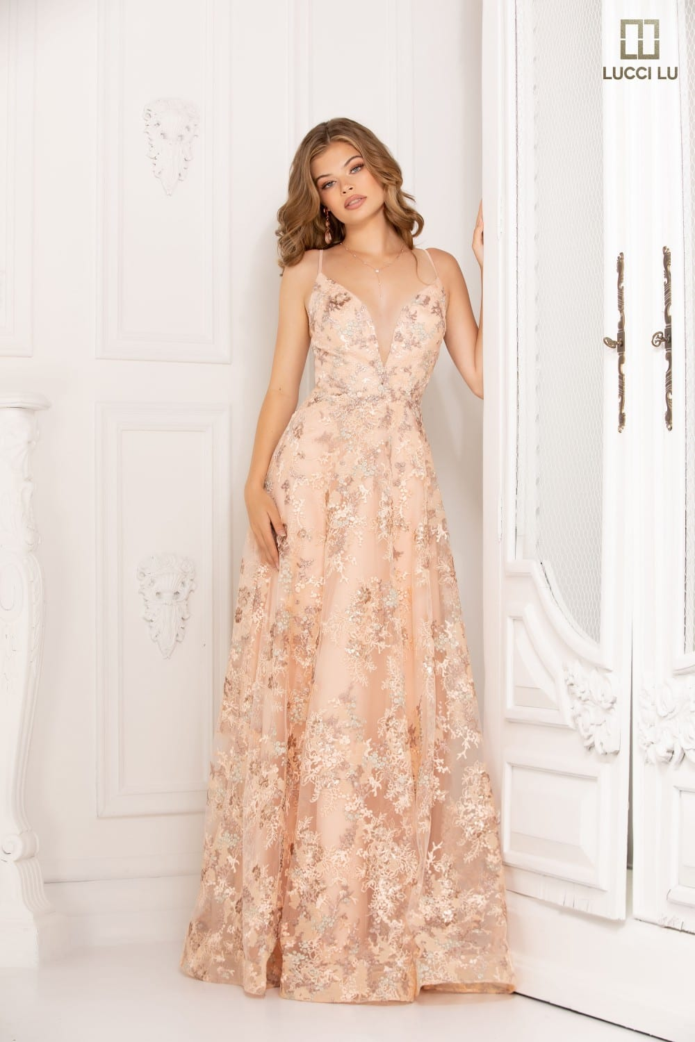 Embroidered tulle, plunging neckline, laced back, ballgown