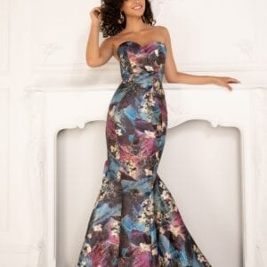 Brocade, print fabric, sweetheart neckline, strapless, mermaid